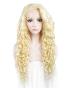 Sotica Long Afro Kinky Curly Lace Front Wig Heavy Density Platium Blonde Synthetic Hair Wigs