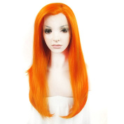 Sotica 60cm Long Straight Soft Halloween Lace Front Wig for Party or Daily Use