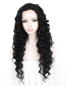 Sotica Long Curly Jet Black Lace Front Wig Big Wavy Heavy Density Synthetic Hair Wigs