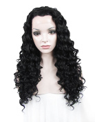 Sotica Long Curly Black Lace Front Wig Natural Looking Heat Resistant Deep Body Wave Lace Hair Wigs