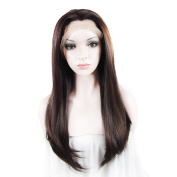 Sotica 2 Tones Long Hair Wigs for Halloween High Quality Heat Friendly Synthetic Lace Front Wig for Party Brown and Black