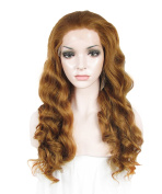 Sotica Long Curly Repunzel Wavy Heat Resistant Lace Front Wig Brown