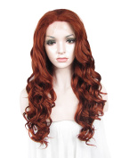 Sotica Women's Top Quality Long Deep Curly Heat Resistant Red Brown Lace Front Wig