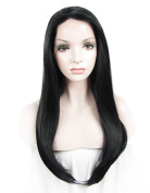 Sotica 60cm Long Straight Lace Front Wigs for Women Top Quality Natural Heat Resistant Fibre Hair Wig Black