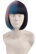 Topcosplay Women's Ombre Wigs Pink Blue Purple Gradient Dyed Short Straight Cosplay Costume Hair Wig