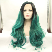 green loose wave ombre wig with black roots premium synthetic lace front wigs heat resistant fibre hair