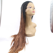 brown micro braiding wig with black roots premium braids synthetic lace front wig heat resistant fibre hair