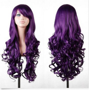 Cool2day®80cm Long Purple Big Wavy Hair Heat Resistant Spiral Curly Halloween Cosplay Costume Wig with Free Wig Cap