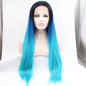 black blue ombre silky straight wigs premium synthetic lace front wigs heat resistant fibre hair