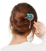 Blue Vintage Retro Style Butterfly Beaded Antique Brass Hair Stick Pin Clip w/ Tassel for Long Hair Ponytail