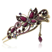 Tinksky Retro Hair Clips Butterfly Hairpins with Charm Crystal Rhinestone