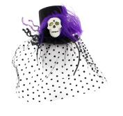 Halloween Top Hat Fascinator with Veil, Purple Feather & Large Plastic Skull