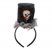 Halloween Top Hat Fascinator with Cobwebs, Blood Effect & Large Plastic Skull