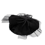 Zac's Alter Ego® Black Fascinator with Lace, Satin Bow & Glitter Spider Attached