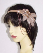 Rose Gold Nude Chain Headband Headpiece Vintage 1920s Great Gatsby Flapper 657 *EXCLUSIVELY SOLD BY STARCROSSED BEAUTY*