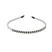 Serre Tete with Synthetic Pearls - Black & White - Children Hair Styling Accessories