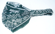 100% cotton TRIBAL THAI ELEPHANT DESIGN LADIES BANDANA (cool stylish bandana covered in a traditional siam design), Green colour