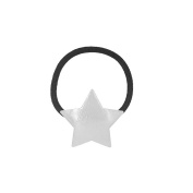 Hair Elastic In Black Fabric with Silver Metal Star
