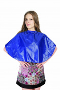 WM Beauty 80cm x 60cm Soft and Silky Polyester Short Shoulder Hair Washing Cape with Hook and loop Closure, Blue