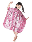 WM Beauty Dogs and Bones Cartoon Pattern Soft Polyester Hair Capes for Children, Pink
