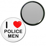 I Love Police Men - 55mm Round Compact Mirror