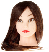 22-60cm Hairdressing 85% Professional Real Hair Training Cosmetology Mannequin Head W/clamp