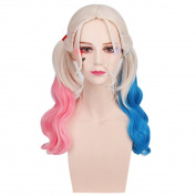 Women's Fashion Pink Blue Weave Cosplay Wigs Gradual Colour