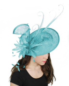 Large 33cm Adonis Sinamay and Feather Ascot Fascinator Hat - With Headband