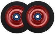 Kick Push 2 Alloy Core Scooter Wheels + Abec 7 Bearings for MGP Razor Lucky, 100mm, Red