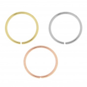 3 Pieces Box set of 14CT Solid Gold 20 Gauge - 6MM Length Seamless Continuous Nose Hoop Ring