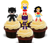Superhero Girls - Edible Cupcake Toppers - Stand-up Wafer Cake Decorations