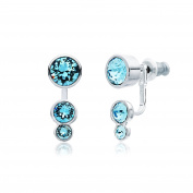 MYJS Slake Dot Earrings Jackets Rhodium Plated with Aquamarine Blue Crystals