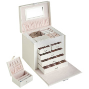 Beautify Large Faux Leather Jewellery Box with 5 Drawers, Removable Travel Case, Ring, Earring & Necklace Storage, Pockets & Mirror - White Snake Skin Print with Pink Velvet Lining