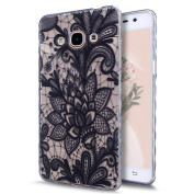 Galaxy J3 Pro Case,Galaxy J3 Pro Cover,ikasus Scratch-Proof Ultra Thin Crystal Clear Rubber Gel TPU Shockproof Soft Silicone Bumper Protective Case Cover for Samsung Galaxy J3 Pro,Black Lace Flower #3