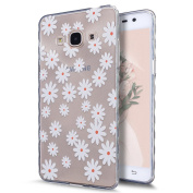 Galaxy J3 Pro Case,Galaxy J3 Pro Cover,ikasus Scratch-Proof Ultra Thin Crystal Clear Rubber Gel TPU Shockproof Soft Silicone Bumper Protective Case Cover for Samsung Galaxy J3 Pro,White Daisy