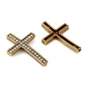 RUBYCA 5pcs Cross Sideway Metal Connector Bead DIY Shamballa Bracelet Bronze Colour White Clear Crystal Inlay