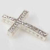 RUBYCA 20pcs Cross Sideway Metal Connector Bead DIY Shamballa Bracelet White Silver Colour White Clear Crystal Inlay