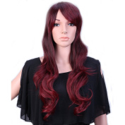 "28"" / 70cm Heat Resistant Synthetic Wig Japanese Kanekalon Fibre Full Wig with Bangs Long Curly Wavy Full Head for Women Girls Lady Fashion and Beauty Ombre 2 Tone Brown Rose Mixed"