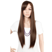 """28"""" / 70cm Heat Resistant Synthetic Wig Japanese Kanekalon Fibre Full Wig with Bangs Long Straight Full Head for Women Girls Lady Fashion and Beauty Medium Brown"""