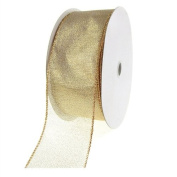 Firefly Imports FJT098204015 Shimmer 50 yd Chiffon Wired Edge, 5.1cm - 1.3cm , Gold