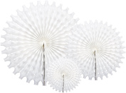 Party Partners Hanging Honeycomb Tissue Fan, White, Set of 3