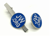 Great JW.ORG Gift To Spread The Message- JW.ORG Necktie Clip and Lapel Pin Gift Set-Silver Round