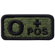 EmbTao Type O Positive Tactical Blood Type Hook and loop Patch - Green & Black - 5.1cm x 2.5cm