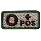 EmbTao Type O Positive Tactical Blood Type Hook and loop Patch - Khaki & Green - 5.1cm x 2.5cm
