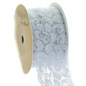 Ribbon Traditions 3.8cm Stretch Elastic Lace Trim Grey 5 yards