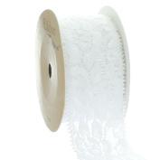 Ribbon Traditions 3.8cm Stretch Elastic Lace Trim White 5 yards