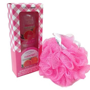 Fresh Sweet Grapefruit Scented Body Wash and Body Butter Combo with Cleanlogic Brand Pink Mesh Bath Sponge. 3-Item Bundle