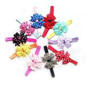 Shuxen(TM) BS#S 10pcs Girls Baby Children Satin Headband Hair Bow Band Accessories