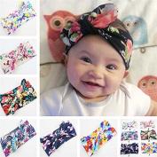Sciotex(TM) BS#S 6PCS Baby Girls Rabbit Ears Elastic Print Cloth Hair Bands Flowers Bowknot Headband