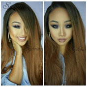 Natural Colour Straight For Black Women Long Ombre Black To Brown Synthetic Lace Front Wig Heat Resistant Fibre Hair